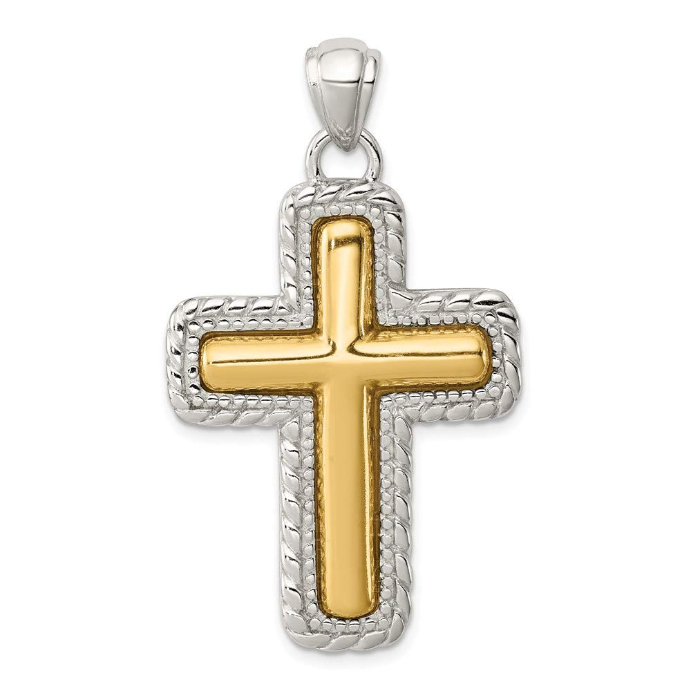 925 Sterling Silver and Vermeil Antiqued Cross Shaped Pendant