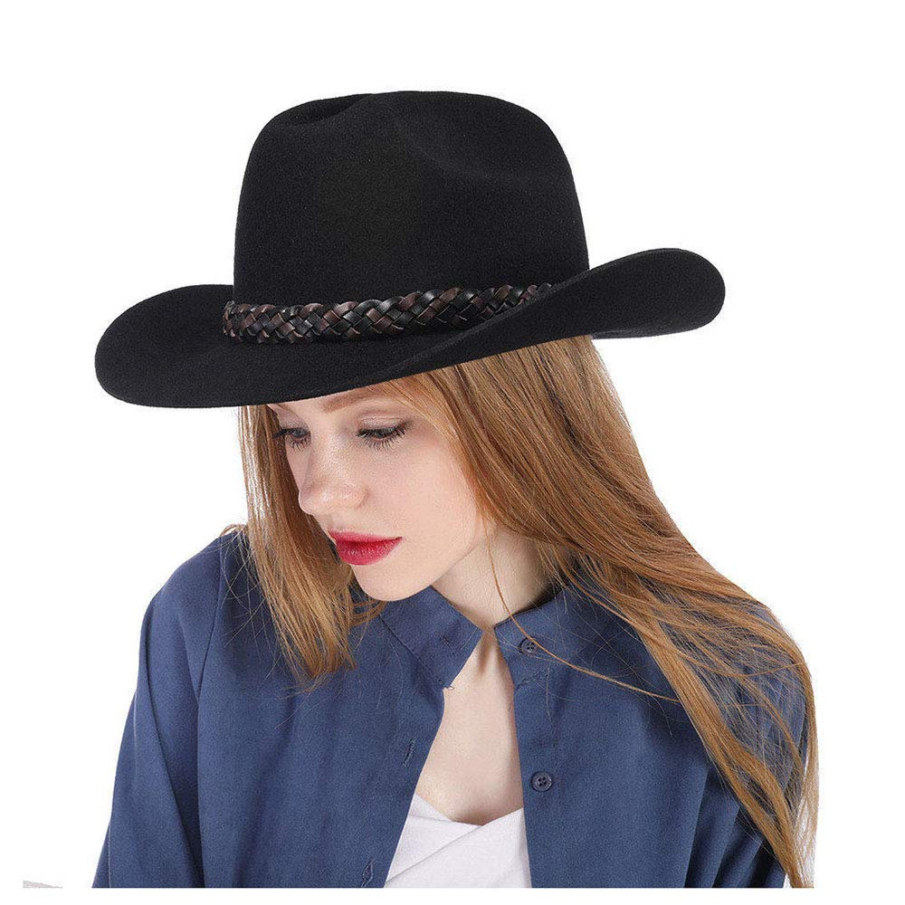 LL Women's Black Cowboy Hat 100% Wool Felt Women's Small Cassidy Crown Country Western Wear Outback Style (Color : Black, Size : 57-58CM)