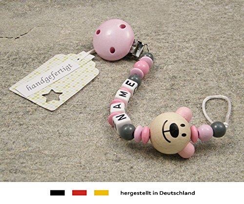 Schnullerhalter mit Wunschnamen M/ädchen Motiv B/är in rosa kleinerStorch Baby SCHNULLERKETTE mit Namen