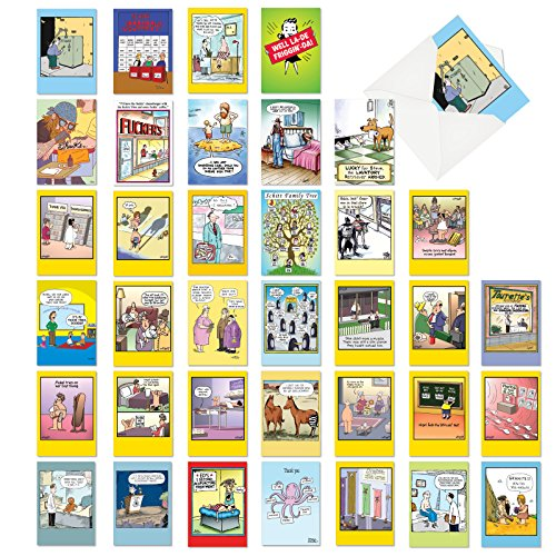 Adult Greeting Card - Favorite Toons Collection - 36 Adult Mixed Occasion Greeting Cards with Envelopes (4.63 x 6.75 Inch) - Bulk Assortment of Comic Cartoon Notecards - Funny Boxed Note Card Set AC6740XXG-B1x36