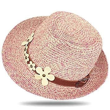 Amazon Com Eyx Formula Natural Size Stiff Straw Hat With Flower For
