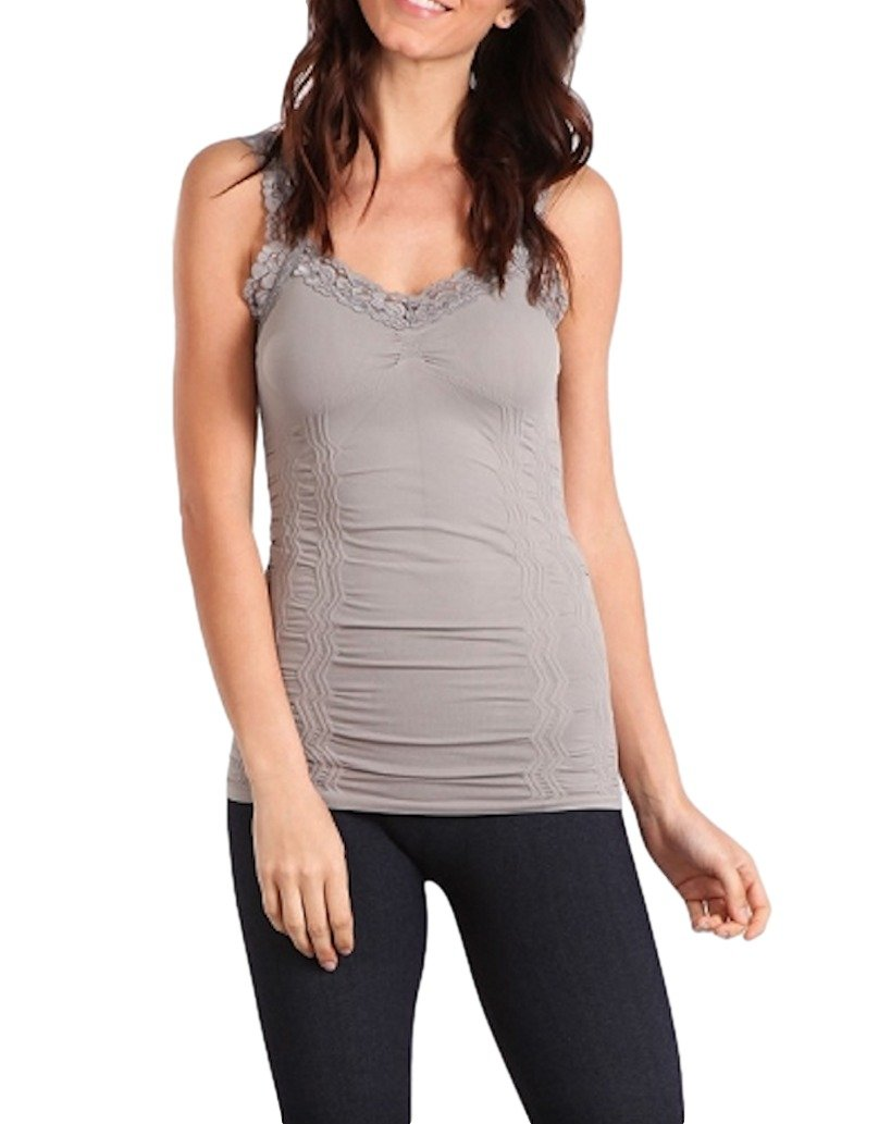 M. Rena Women's Lace Camisole-One Size Fits Most (One Size, Grey)