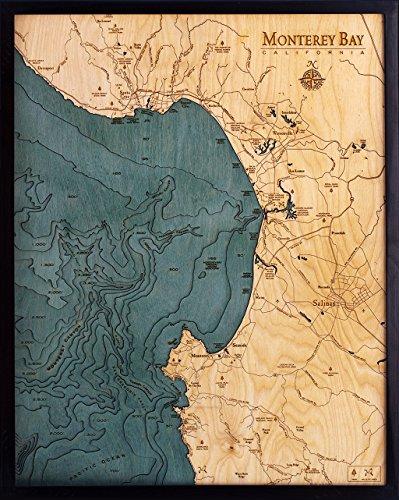 Monterey Bay, California 3-D Nautical Wood Chart, 24.5'' x 31'' by Woodchart