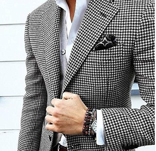 YSMO Mens Suits Unique Slim Fit Checkered Black Suit 2 Piece Blazer Jacket and Pants