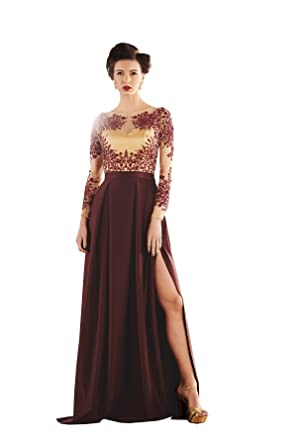 Khwaab Brown Scuba Creased stitched designer wedding Evening Gown ...