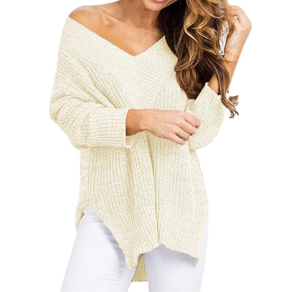 Sayhi Fashion Women V-Neck Cashmere Sweater Solid Knitting Pullover Long Sleeve Loose Blouse Winter Outwear (White,L) by Sayhi
