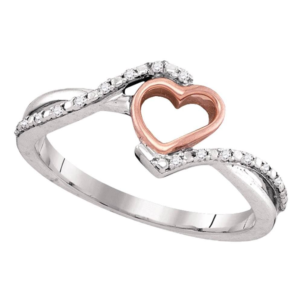 Diamond Infinity Heart Ring Solid 10k White Rose Gold Love Band Open Design Slender Two Tone 1/12 ctw