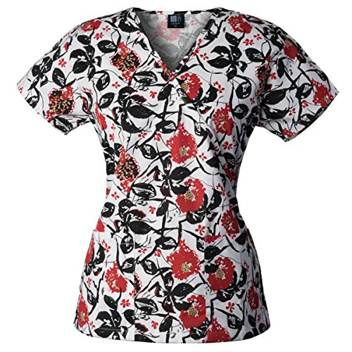 Medgear Womens Scrubs Top, Mock Wrap with Back Ties and 2 pockets, 109PBLR (S)