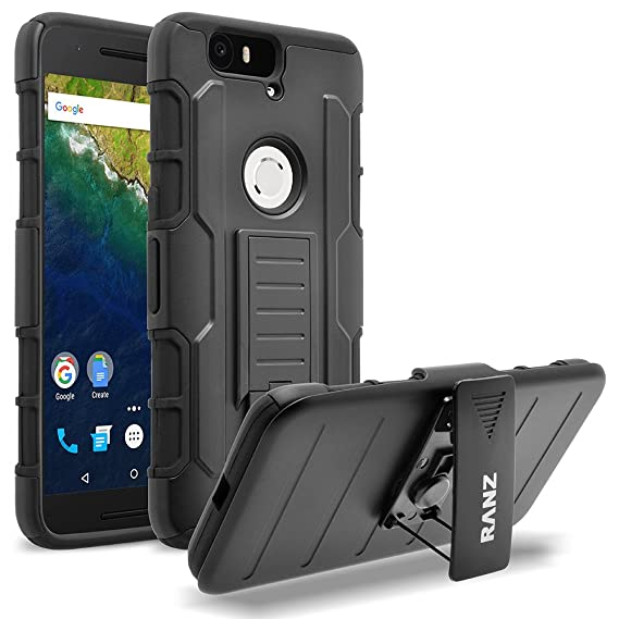 new product 4e4ee 5a1e1 Nexus 6P case, RANZ Black Rugged Impact Armor Hybrid Kickstand Cover with  Belt Clip Holster Case for Google Nexus 6P