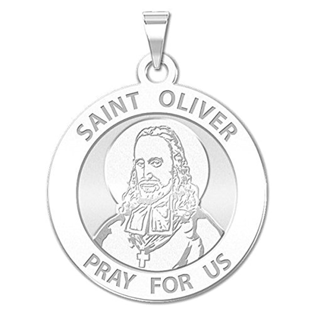 PicturesOnGold.com Saint Oliver Plunkett Religious Medal - 3/4 Inch Size of a Nickel -Sterling Silver with Engraving by PicturesOnGold.com