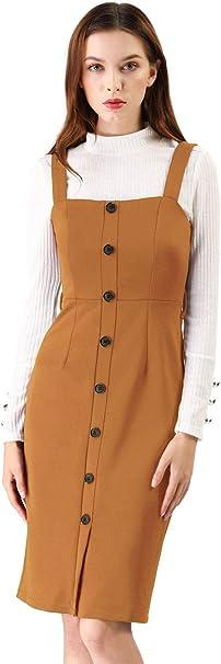 Allegra K damska Slim Fit Button Dekor pasek wiązany sukienka ogrodnicza sukienka: Odzież