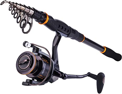 Sougayilang Fishing Rod Reel Combos Carbon Telescopic Fishing Rod Pole with Spinning Reel Line Lures Accessories Combo Sea Saltwater Freshwater