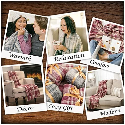 Bedroom Chanasya Farmhouse Pattern Plaid Throw Blanket Lightweight Knit Textured Woven Decorative Blanket for Sofa Couch Bed… farmhouse blankets and throws