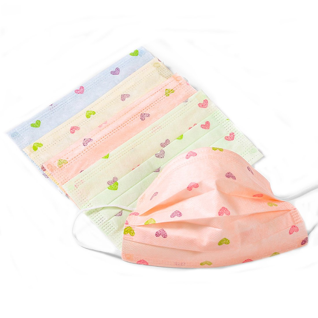 Flyusa 3 Layer Cartoon Printed Non-woven Fabric Disposable Surgical Dust Filter Ear Loop Mouth Cover Face Mask for Women Lady Girls,30 Pcs,Heart