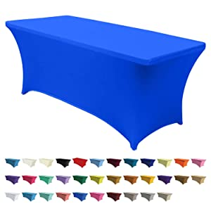 ABCCANOPY 30+ Colors Spandex Table Cover 6 ft. Fitted Polyester Tablecloth Stretch Spandex Tablecover-Table Toppers(Royal Blue)