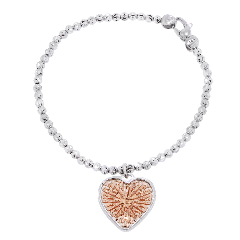 Officina Bernardi Sterling Silver with Pink Small Heart Bracelet (7)