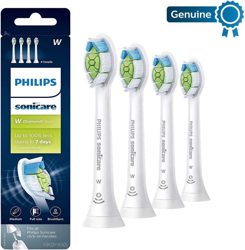 Philips Genuine Sonicare DiamondClean replacement toothbrush heads, HX6064/65, White 4-pk
