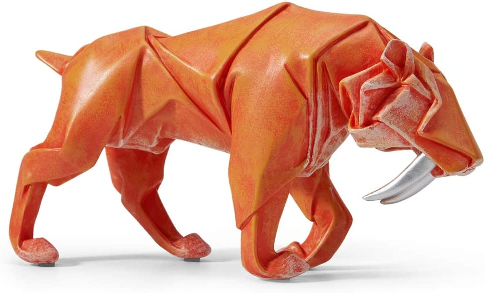 HAUCOZE Statue Figurine Saber Toothed Tiger Sculpture Animal Decor Leopard for Home Gifts Souvenirs Giftbox Resin Multicolor 24cmL