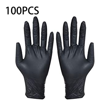 100pcs Disposable Black Gloves Household Cleaning Washing Gloves Nitrile Laboratory Nail Art Medical Tattoo Anti-static Gloves Easy To Lubricate Tattoo Accesories