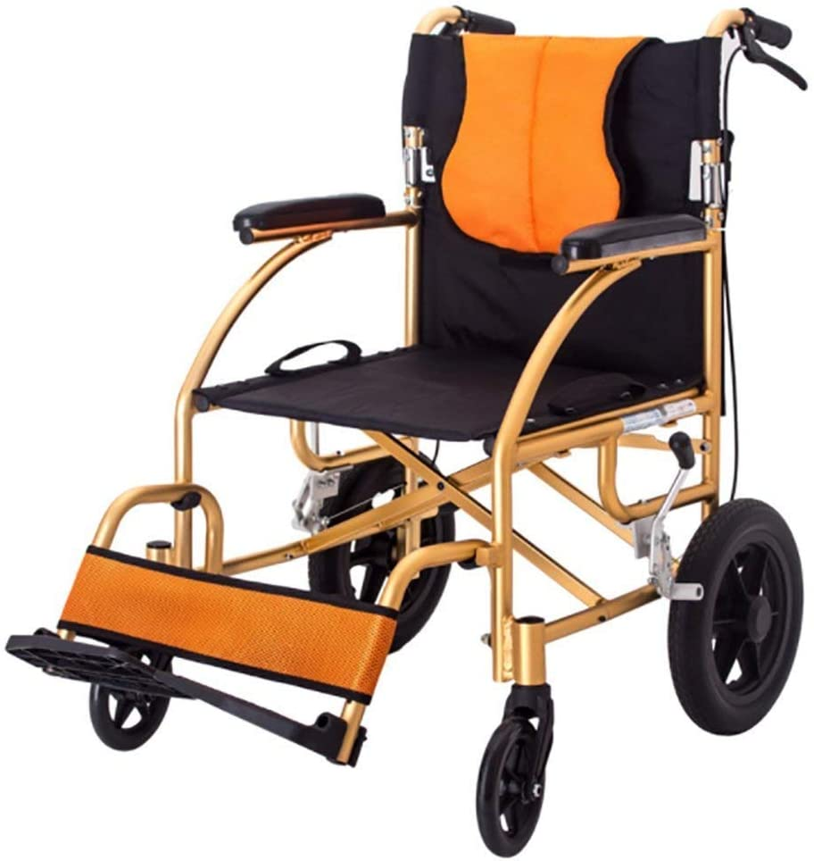 KANJJ-YU Autopropulsión sillas de Ruedas Deluxe Tránsito Viajes sillas de Ruedas Plegables Silla portátil Ultra Ligero Deluxe discapacitados Ambulancia Silla Resistente a la perforación de Neumáticos