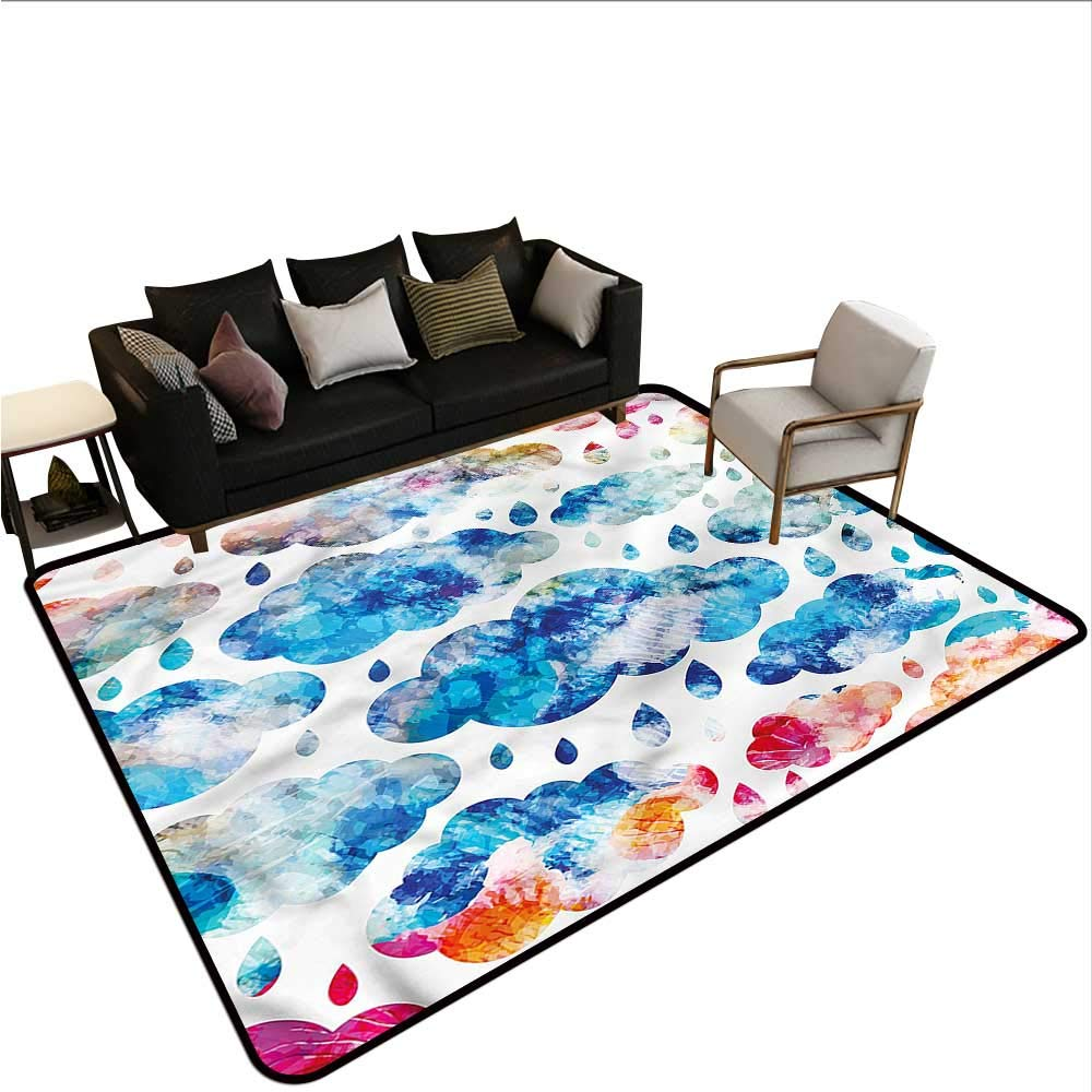 "Modern,Anti-Slip Cooking Kitchen Carpets 64""X 96"" Clouds Raindrops Artful Non-Slip Area Rug Pad"