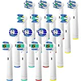 Replacement Brush Heads for Oral B, 16 Pcs Toothbrush Replacement Heads Compatible with Oral B Pro1000 Pro3000 Pro5000 Pro7000, includes 4 Floss Action, 4 Cross Action, 4 Precision Clean & 4 3D White