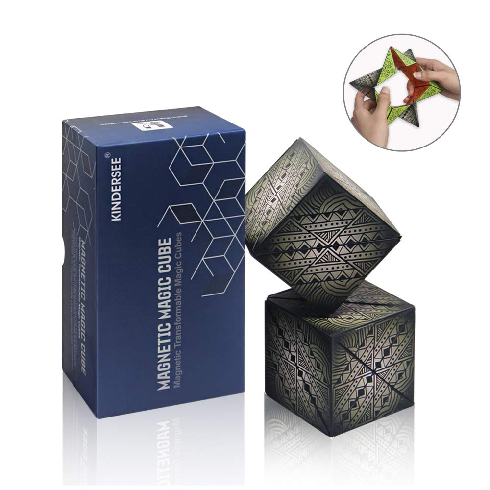 2 Pcs Magnetic Magic Cubes with 36 Built-in Magnets, Mysterious Graphics Geometric Puzzle Toys for Kids and Adults by kindersee