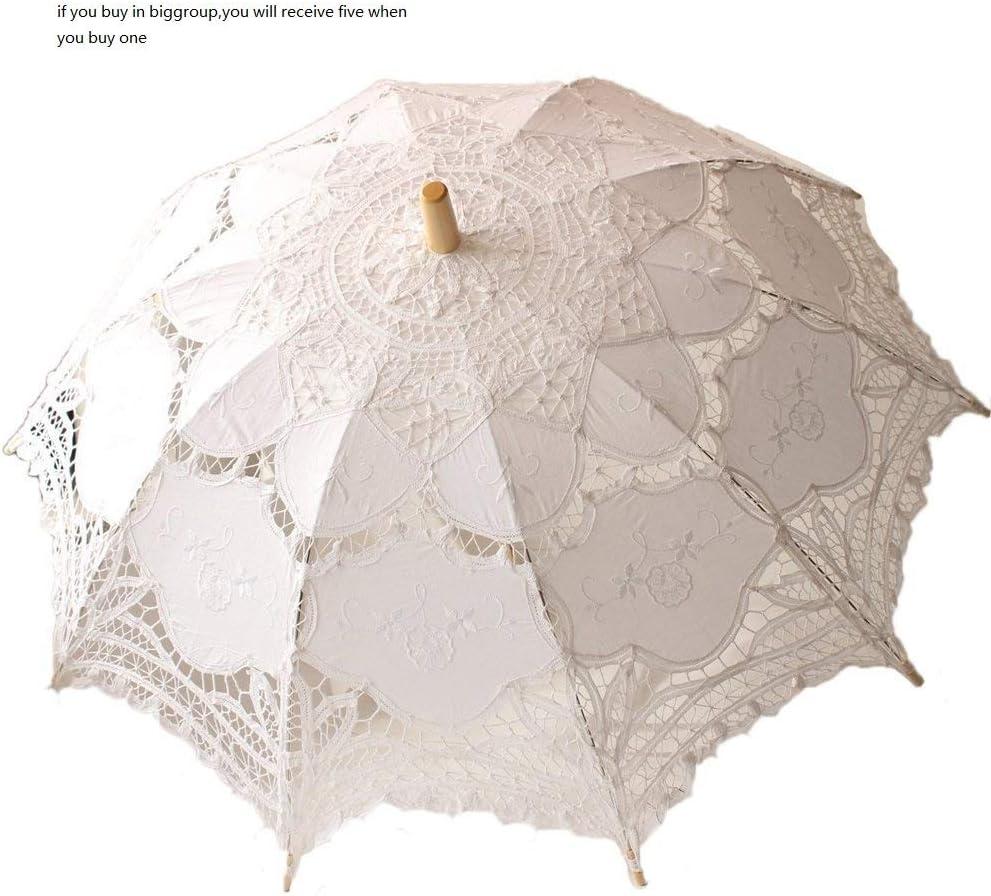 Wedding Lace Parasol Umbrella Victorian Lady Costume Accessory Bridal Party Decoration Photo Props White
