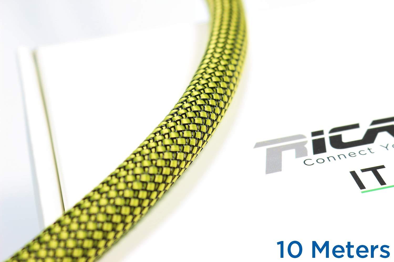 Gaine de Protection tress/ée pour c/âble 10-16 mm Jaune//Noir 10 m Ricable Custom YB13//10