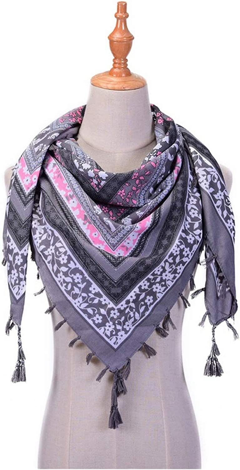 Spring Scarves For Women Shawls And Wraps Cotton Print Tassels Scarf 110110Cm