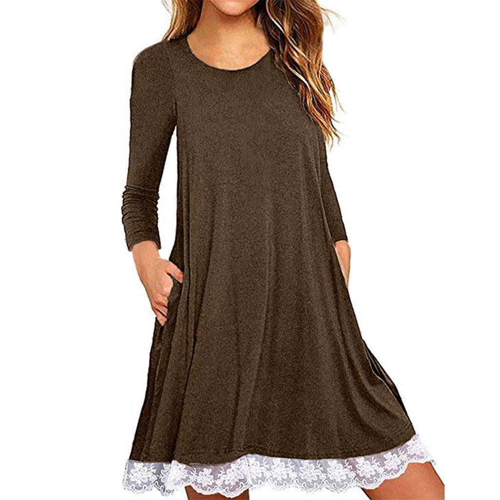 Women's Plus Size 3/4 Sleeve Lace Tunic Tops T-Shirt Summer Casual Loose A-Line Beach Mini Sun Dresses with Pockets (Coffee, L)