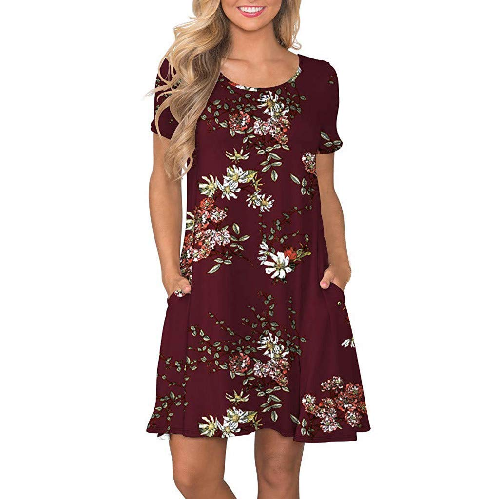 Ulanda Womens Short Sleeve Floral Print Swing Dress Beach Cover up Short Dress with Pockets Casual T Shirt Dresses