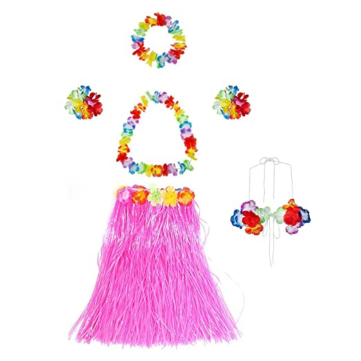 ff731706db1 Gorse Elastic Hawaiian Dancer Grass Hula Skirt for Adult and Girls Floral  Lei Costume Party Decorations Pink 23.6