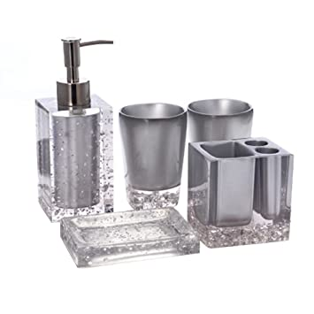 Resin Soap Dish, Soap Dispenser, Toothbrush Holder U0026 Tumbler Bathroom  Accessory 5 Piece Set