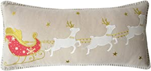 JWH Christmas Throw Pillow Cover Decorative Accent Pillow Case Deers Sleigh Cushion Cover Santa Claus Reindeer Pillowcase Festival Home Bed Living Room Decor Gift 12 x 24 Inch Beige