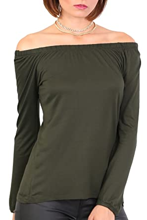 4262e70a70f7d PILOT® Women s Plain Long Sleeve Bardot Top in Khaki Green
