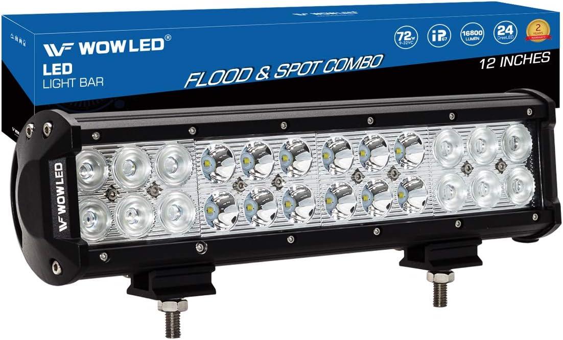 WOWLED 12 Inch 72W LED Light Bar Spot Flood Combo Beam CREE LED Work Lights Bar Lamp Light for Tuck Offroad Driving Lamp SUV UTE 4WD 12V 24V DC