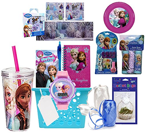 Disney Frozen Elsa & Anna Inspired 9pc. All inclusive Pre-Filled Gift Basket. Perfect for Valentine's Day, As Easter Basket, Christmas Gift or Special Occassion. Pre-Wrapped & Ready to Give! (Frozen Gift Basket)