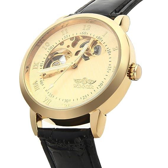 6ab45fc085a7 ... mecánico automático hueco de oro Marcación analógica del negocio del  Mens Casual reloj de pulsera deportivo con Negro Correa de Piel  Amazon.es   Relojes