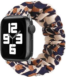 MONOBLANKS Scrunchie Elastic Watch Band Compatible for Apple Watch Band 38mm/40mm 42mm/44mm,Thick Elastic Band Replacement Compatible with for iWatch Series 4/3/2/1 (Leopard, 38MM/40MM)
