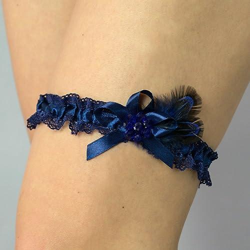Liguero liga novia boda puntilla azul regalo novia Swarovski perlas