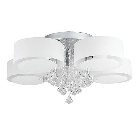 Lampadari Rotondi Moderni.Lampadario Da Soffitto Con 5 Punti Luce Rotondi E Pendente In Vetro E Cristallo Design Moderno Ed Elegante