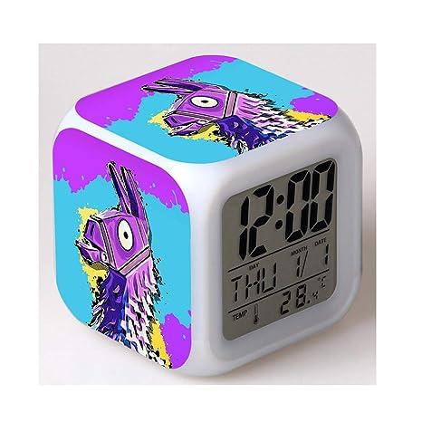 7 Colores LED Fortnite Digital Despertador LCD Muestra Hora, Fecha, Temperatura Mejor Regalo para