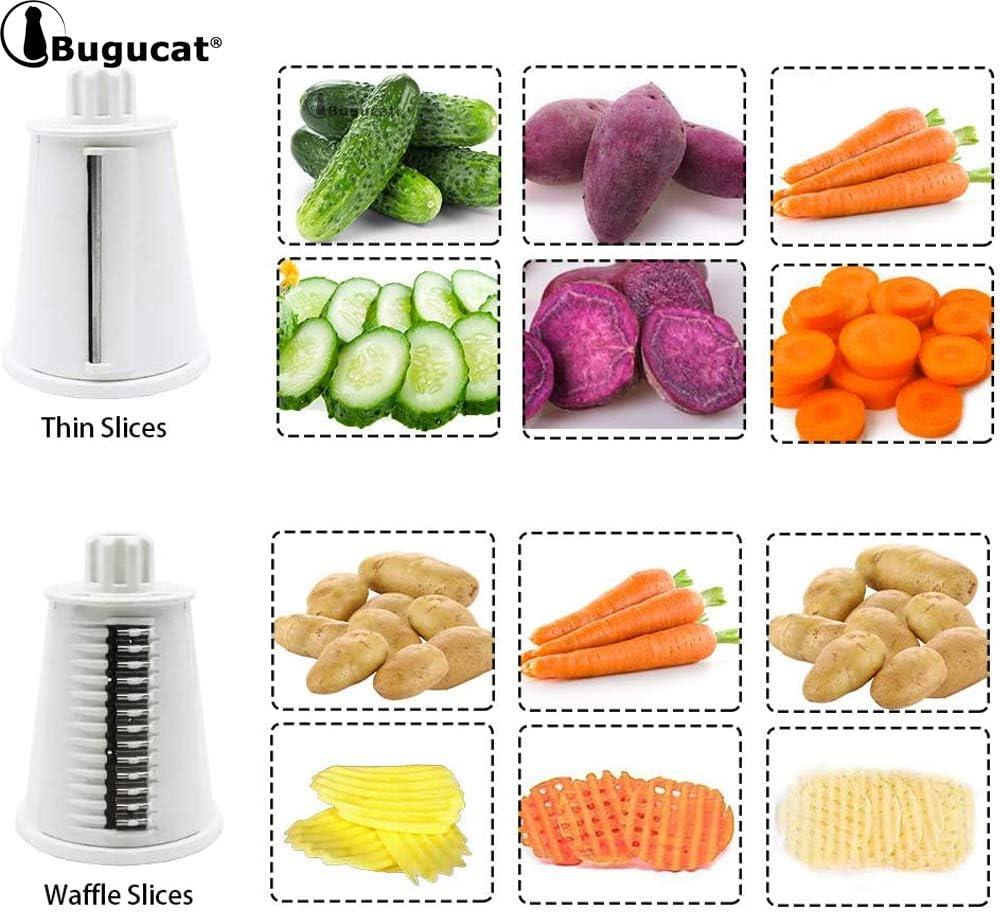 rallador de queso chopper rallador de tambor frutas rallador giratorio Bugucat Cortador manual de verduras utensilio de cocina con 5 juegos de cuchillas de acero inoxidable intercambiables