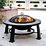 """Fire Pit Sale Today! This Wood Burning Fire Pit Can Replace Gas Fire Pits Guarenteed. This 30"""" Round Slate Fire Pit Design Is an Ideal Outdoor Backyard Patio Fire Pit Table. Fire Pit Accesories, Mesh Cover, Wood Grate and Poker Are Included."""