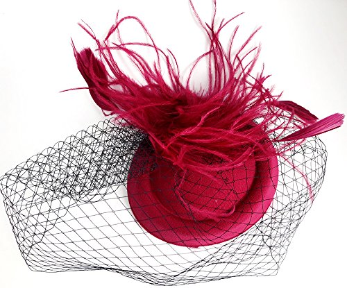 Cizoe Fascinators Hats 20s 50s Hat Pillbox Hat Cocktail Tea Party Headwear with Veil for Girls and Women (B-Burgundy) by Cizoe (Image #3)