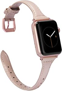Wearlizer Womens Slim Light Pink Leather Compatible with Apple Watch Band 38mm 40mm for iWatch SE Sports Thin Strap Replacement Cool Cute Wristband with Rose Gold Metal Buckle Series 6 5 4 3 2 1