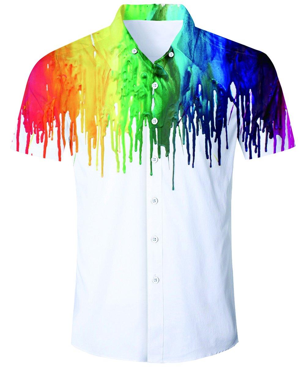 TUONROAD Herren Strand Hemd, Herren Kurzarm Hawaii-Print,Hawaii-Print mit Blumen Kurzarm T-Shirt Ferien