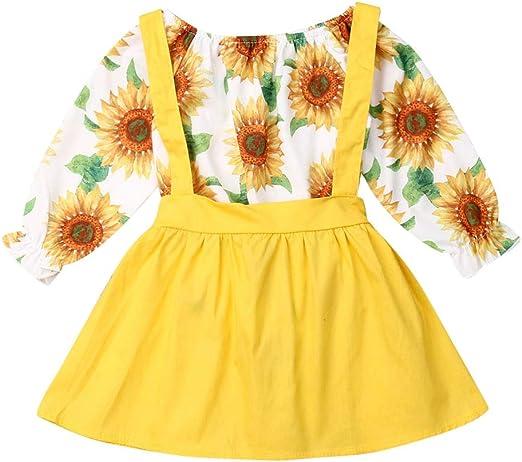 US Toddler Infant Baby Girl Flower Romper Suspender Skirt Dress Outfits Clothes