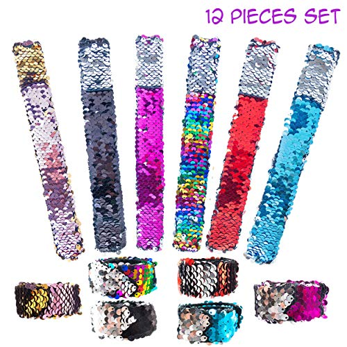 Mermaid Reversible Sequin Slap Bracelets for Girls Kids 12 PCs Pack - Magic Flip Sequin Snap Bracelet Set with Velvet Lining - Great Birthday Party Favors Supplies Stocking Stuffers Pinata Fillers